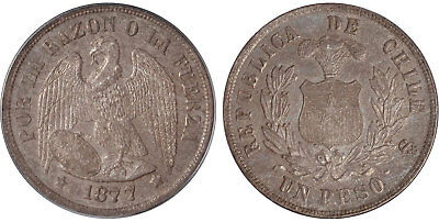 CHILE. 1877 AR Peso. PCGS MS64.  Plumed arms within wreath / Condor KM 142.1.