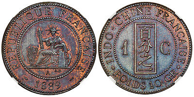 FRENCH INDO-CHINA. 1889-A AE Cent. NGC PR66BN Paris. KM 1. Just 100 pcs minted.