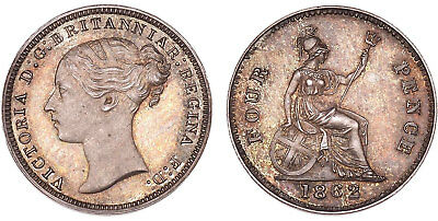 GR. BRITAIN Victoria. 1862 AR Fourpence Muled w/ Threepence Obverse. PCGS PR65.