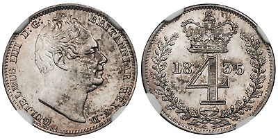 GR. BRITAIN William IV. 1835 AR Maundy Set NGC MS65. Just 2574 sets for the date