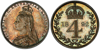 GR. BRITAIN Victoria 1892 AR Maundy Set. PCGS PL65 S-3932. Attractively toned.