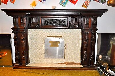 Antique architectural Fireplace surround in Mahogany With Pillars