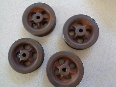 "4 Vintage 4 1/2"" Industrial Machine Cast Iron Wheels/Pulleys Steampunk Art"
