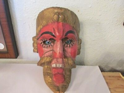 Vintage Mexican or Guatemalan Mask Wood Carved Folk Art