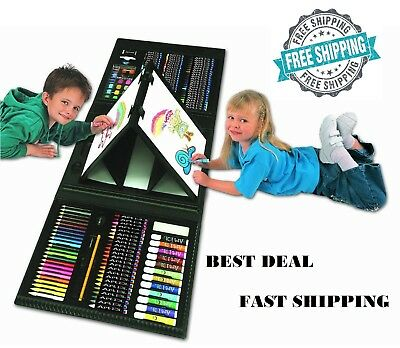 179 Piece Art Set Kids Drawing Painting Kit Easel Pencils Trifold Gift Child Fun