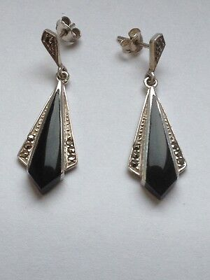 Sterling Silver Art Deco Black Onyx and Marcasite Drop Earrings
