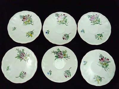 Luneville- 6 Soucoupes Sous Tasses Demi Porcelaine Decor Reverbere-N°21