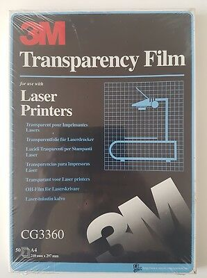 3M PROJECTOR TRANSPARENCY FILM FOR LASER PRINTERS CG3360 50× A4 210mm × 297mm