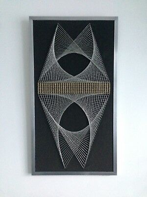 Original Vintage 1960s 1970s Metal Framed String Pin Nail Geometric Art Picture