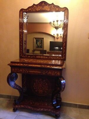 ANTIQUE DUTCH MARQUETRY CONSOLE TABLE / MIRROR - 19th CENTURY OLD EUROPE