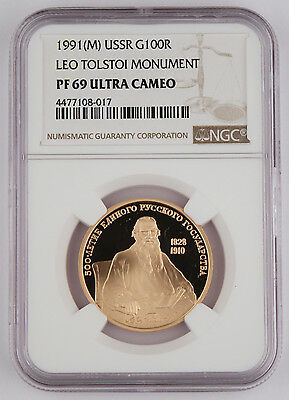 Russia 1991 1/2 Oz Gold Proof 100 Rouble Coin NGC PF69 Leo Tolstoi Monument
