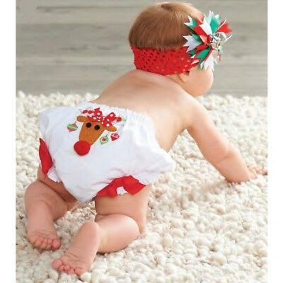 New Mud Pie Baby Christmas Reindeer Bloomer Holiday Diaper Cover 0-6 Months