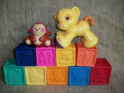 Soft Squeeze Blocks Stackable Rubber Baby Toddler Building Blocks Lot of 9 + FP