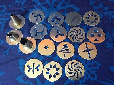 Vintage Mirro Cookie Cooky Press Discs Lot nozzle free shipping
