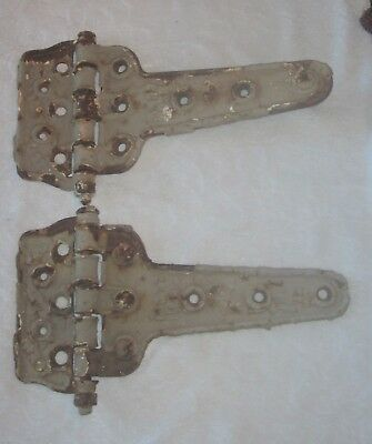 Pair (2) Large Antique Cast Iron Barn Door Hinges