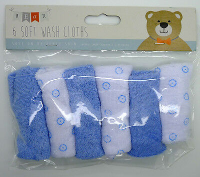 New Baby Pack 6 x Blue Soft Wash Cloths Flannels