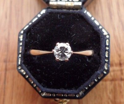 Vintage 18ct Gold Platinum Diamond Solitaire Ring Size N