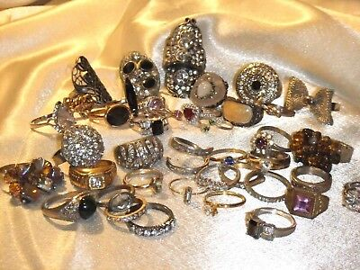 Lot Of 41 Vintage N0W Costume Cocktail Rings Flowers Rhinestones Cz's Mixed