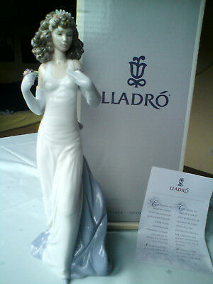 "Lladro Porzellan Figur Erwartung Neuwertig ""Anticipation"" #6608 Lady Flower"