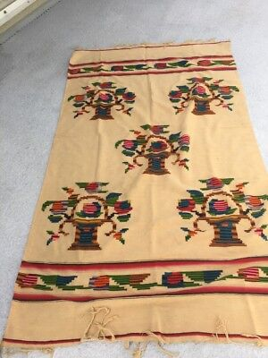 Antique Native  Southwest Indian Wool Colorful Design Blanket