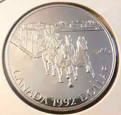 1992 Canada $1 Dollar SILVER Proof - Stage Coach