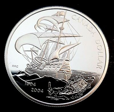 2004 Canada $1 Dollar Sterling SILVER Proof - 400th Anniversary Settlement