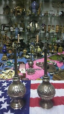 Pair 1700s ANTIQUE OTTOMAN SILVER c Islamic ROSE WATER SPRINKLER MARKED XTR.RARE