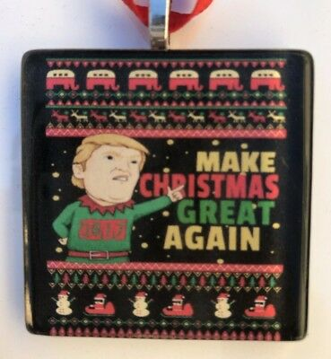 """""""make Christmas Great Again"""" Ugly Sweater Christmas 2017 Ornament-Donald Trump"""
