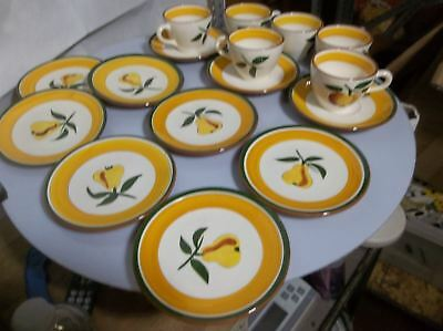 D85 Set of Stangl Pottery FRUIT Pattern Bread Plates Cups Saucers 16PC Set & SET OF 6 Vintage Stangl Pottery Painted Fruit Dinner Plates - $19.66 ...