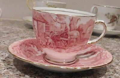 Vintage HM Sutherland  China England Rural Scenes Red Transfer Cup & Saucer