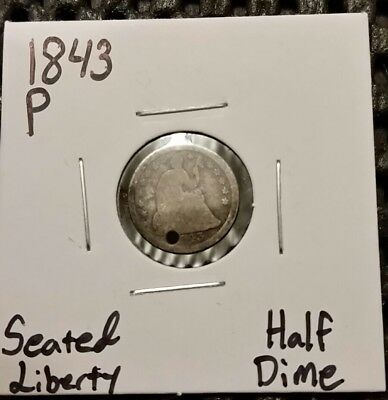 1843-P Seated Liberty Half Dime! 90% Silver! Holed! Free Shipping!