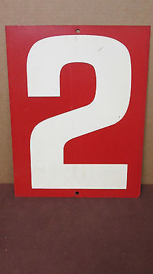 Vintage Red Two-Sided 2/4  Tin Metal Gas Station Price Number Sign S60