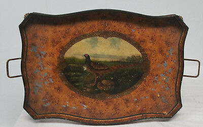 Antique Vintage Tin Painted Metal Pheasant Hunting Serving Tray As Is Toleware