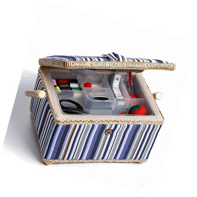 bbloop Medium Vintage Sewing Basket with Notions Package - Blue and Grey Stripe