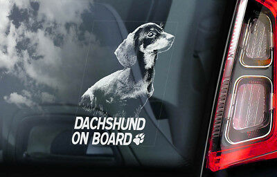 Dachshund on Board - Car Window Sticker - Teckel Dackel Dog Sign Decal Gift- V01
