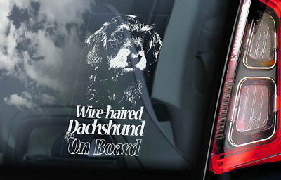 Wire Haired Dachshund on Board - Car Window Sticker - Teckel Dog Decal Gift -V03