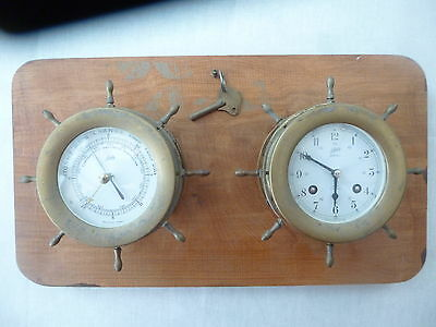 Schatz Ships Clock and Barometer with RARE wheel surrounds