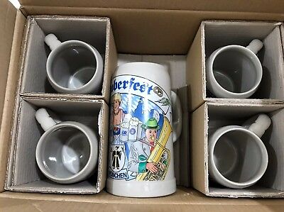 NEW Set of 5 GERZ German Beer Stein Mugs in Box QVC 1 L and 0.5 L