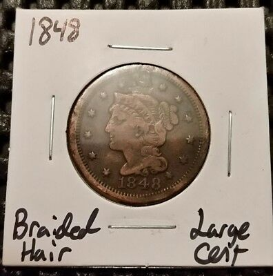 1848 Braided Hair Large Cent! Free Shipping!