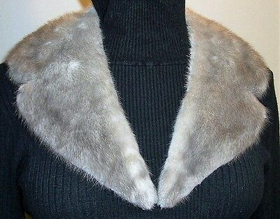 Vintage Genuine MINK Fur Collar Scarf Silver Gray