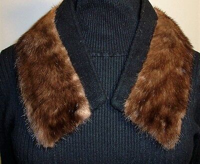 Vintage Genuine Dark Brown MINK Fur Collar Scarf Hook & Eye Closure