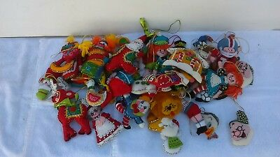 Vtg Lot Bucilla Hand Made Sewn Christmas Ornaments Felt Sequin Disney Xmas