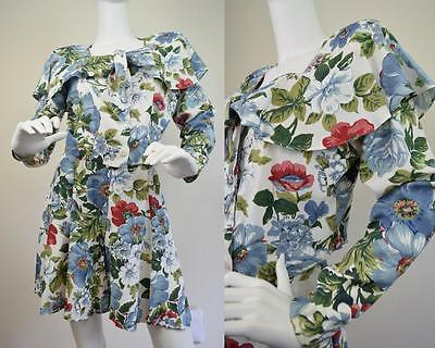 Vtg 80s 90s Floral Playsuit Jumpsuit 2 piece Top Shorts High Waist Cropped S