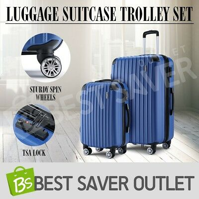 Luggage Suitcase Trolley Set TSA Lock Carry On Bag Lightweight 2pc-Blue