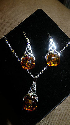 Baltic Cognac Amber Earrings And Matching Pendant 925 Silver