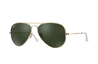 Ray-Ban RB3025 Aviator Classic Polarized Sunglasses Gold/ Green Classic 58mm