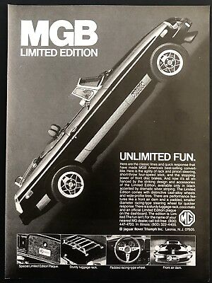 1979 Vintage Print Ad MGB Limited Edition Convertible Sports Car 70's Style