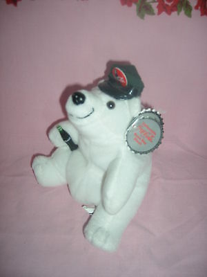 Coca Cola brand Bean Bag Polar Bear & Cap with Mini-bottle & Tags