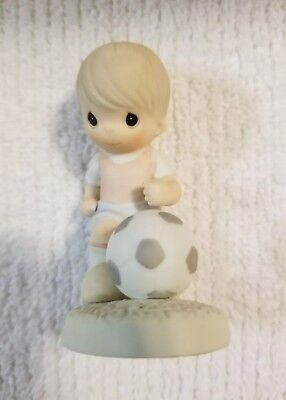 *RARE* Precious Moments You'll Always Be A Winner To Me Figurine Boy Soccer NEW