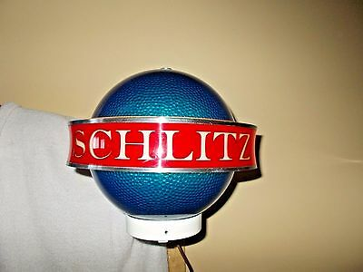 1961 Schlitz Beer Blue Saturn Globe Spinning Motion Moving Light Up Sign